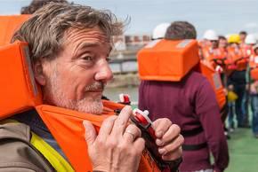 PS106 beginnt für Wissenschaftsredakteur Stephan Schön wie für alle Wissenschaftler an Bord mit einer Sicherheitsübung. Foto: Tilo Arnhold, TROPOS