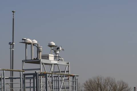 Strahlungsmessstation (SMS) des TROPOS während der Sonnenfinsternis am 20. März 2015. Foto: Tilo Arnhold/TROPOS