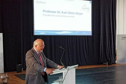 Prof. Dr. Karl Ulrich Mayer, Präsident der Leibniz-Gemeinschaft von Juli 2010 bis Juni 2014, während des Festkolloquiums 20 Jahre Leibniz-Institut für Troposphärenforschung.    Foto: Patrik Seifert/TROPOS
