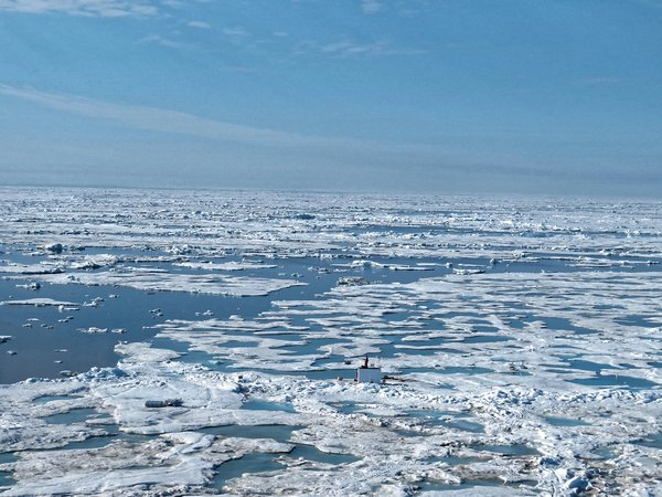 Summer in the Arctic: The MOSAiC floe is melting more and more and is approaching the ice edge. The days of the floe are numbered ... Photo: Luisa von Albedyll, AWI