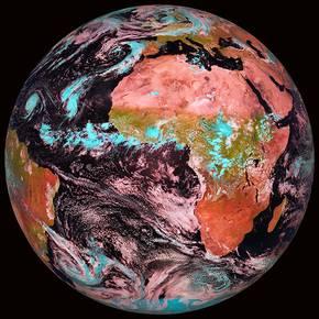Falschfarbendarstellung der Erde, Quelle: EUMETSAT