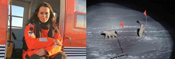 AWI-Fotografin Esther Horvath. Ihr gelang während des 1. Fahrtabschnitts von MOSAiC das Foto einer Eisbärenmutter mit ihrem Jungen auf der Scholle. (Fotos: Esther Horvath, AWI)