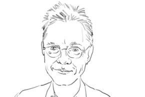 Prof. Andreas Macke, Fahrtleiter für die Polarstern-Fahrt in die Arktis. Zeichnung: Kerstin Heymach, arktis-zeichenblog.eu