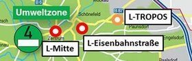 Contains a small extract from Fig. 1 of Rasch et al.: Signifikante Minderung von Ruß und Anzahl ultrafeiner Partikel in Außenluft als Folge der Umweltzone in Leipzig. Gefahrst. Reinh. Luft, 73(11/12): 483-489, 2013.