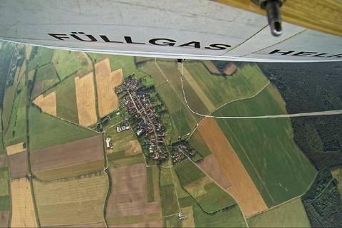 Blick vom Ballon aus rund 1km Höhe auf Melpitz. Foto: Tilo Arnhold/TROPOS