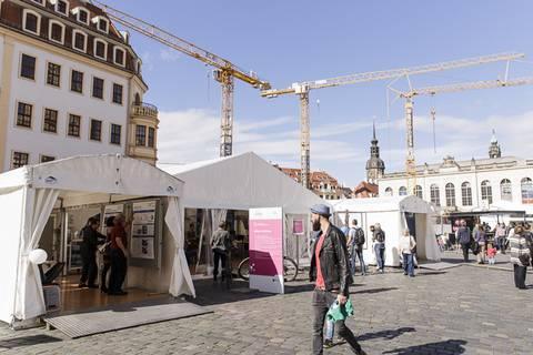 Leibniz-Zelt auf der Sächsischen Wissenschaftsmeile. Foto: CHRISTIAN HÜLLER FOTOGRAFIE