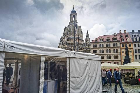 Leibniz-Zelt am Dresdner Neumarkt. Foto: Tilo Arnhold, TROPOS