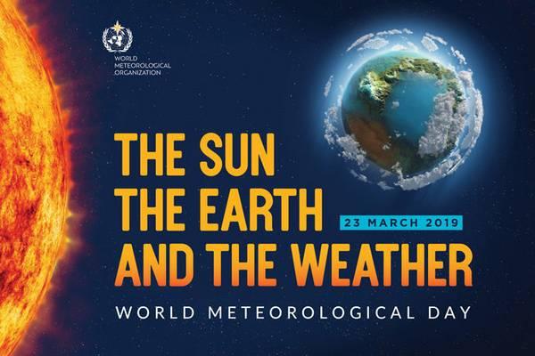 """""""Die Sonne, die Erde und das Wetter"""" (""""The Sun, the Earth and the Weather"""") ist das Motto 2019. Quelle: WMO."""
