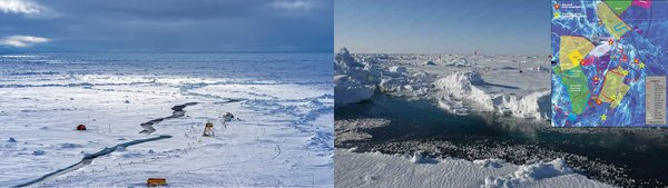 Atmospheric research on the MOSAiC ice floe. Photos: Christian Rohleder, DWD & Julia Schmale, PSI