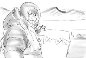 Zeichnen in Ny Alesund, Spitzbergen. Kerstin Heymach wurde dabei von Ornithologen gefilmt. Selbstportrait: Kerstin Heymach, arktis-zeichenblog.eu