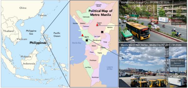 Metro Manila und Standorte der Aerosolmessungen 2020. Quelle: Simonas Kecorius, TROPOS