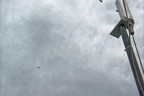 Auch ACTOS fliegt heute wieder über Melpitz - ganz klein links im Bild. Foto: Janine Lückerath/ Universität Bayreuth