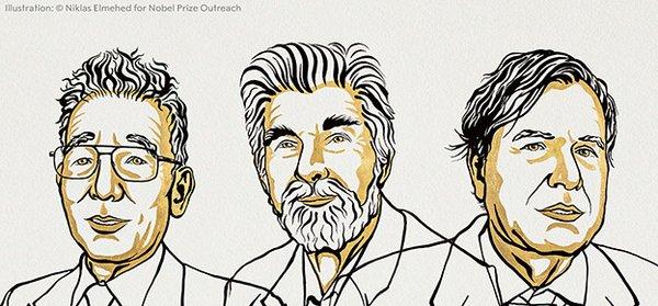 Syukuro Manabe (USA), Klaus Hasselmann (Germany) and Giorgio Parisi (Italy) will receive the Nobel Prize in Physics 2021. Illustration: Niklas Elmehed © Nobel Prize Outreach