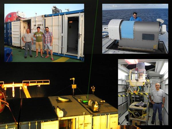 OCEANET- und Wolkenradar-Container auf dem Helikopterdeck, inklusive der Kollegen, die diese Messungen betreuen. © Sebastian Bley, TROPOS.