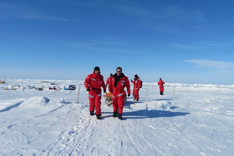 Cleaning up the ice floe at the end of section 3. Photo: Julia Schmale, PSI