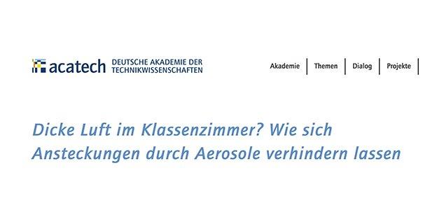 acatech am Dienstag: Aerosole erforschen und Luftqualität verbessern