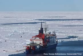 Polarstern liegt während der Driftstation (Expedition PS106) an einer Scholle. Auf der Backbordseite markieren verschiedene Installationen und Flaggen die unterschiedlichen Messpunkte auf und unter dem Meereis. Foto: Svenja Kohnemann, Universität Trier