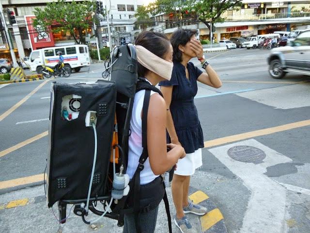 Bei der Kampagne MACE 2015 in Manila wurden mobile Partikelmessungen mit dem Rucksack durchgeführt.