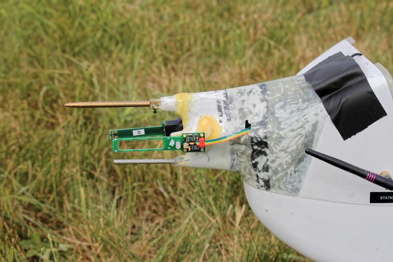 Die meteorologische Sensorik von ALADINA befindet sich in der Messnase. Foto: Barbara Altstädter, TU Braunschweig