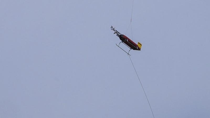 ACTOS schwebt nach dem Messflug langsam über Beilrode ein. Foto: Tilo Arnhold/TROPOS