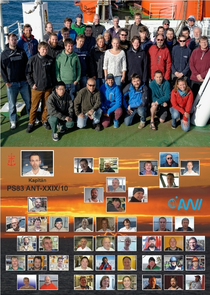 Fig. 5: Group foto of the scientists (top) and an overview of the crew (bottom). © Tilo Arnhold, TROPOS, Andreas Winter (Laeisz).