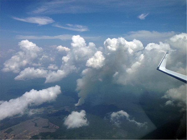 The researchers flew over deforested rain forests many times, here close to Manaus. A smoke cloud rises from a slash-and-burn fire, forming a pyrocumulus cloud. Photo: Manfred Wendisch, University of Leipzig