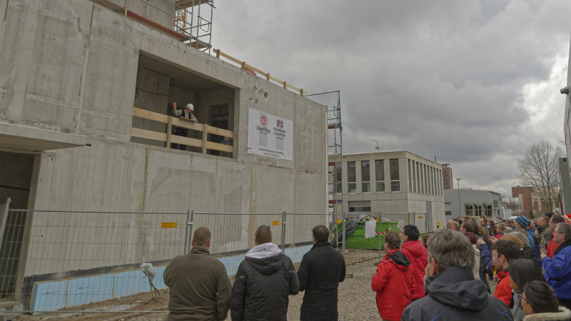 Richtfest Chemie-Laborneubau am in TROPOS Leipzig, 23.03.2016. Foto: Tilo Arnhold, TROPOS