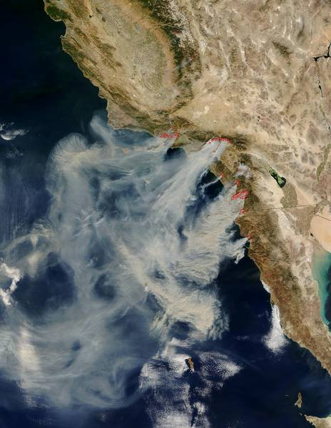 Bush fires in Southern California. Photo: NASA/Earth Observation